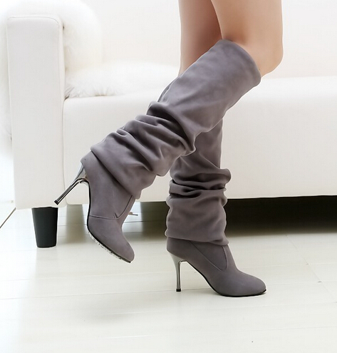 ФОТО Free Shipping woman large size shoes hot 2017 new stretch knee boots pointed matte Tall boots thin 35-43