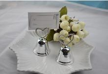 free shipping 10 pcs silver bell wedding place card holder wedding table numbers holder wedding decoration