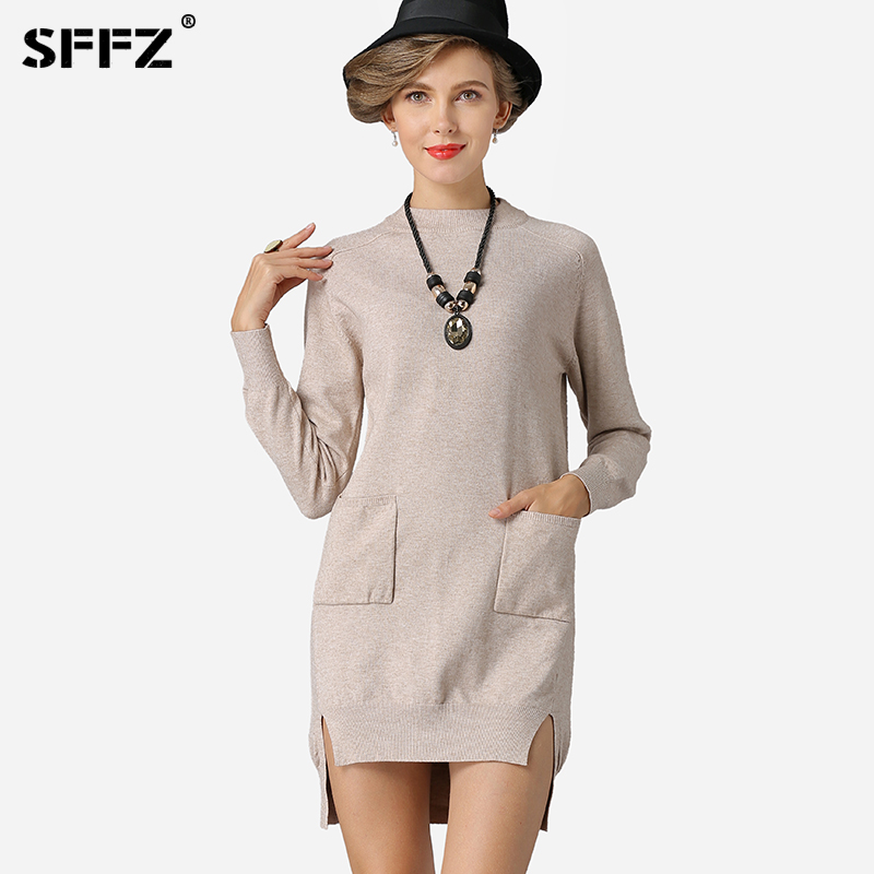 SFFZ New 2019 Female Knitted Sweater Dress Women Fashion Sweater Winter O Neck Pocket Casual Simple Jumper Top Solid Sweaters