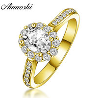 AINUOSHI Trendy Oval Halo Ring 14K Solid White/Yellow Gold Pave Setting Band 0.5 CT Sona Diamond Women Wedding Engagement Ring