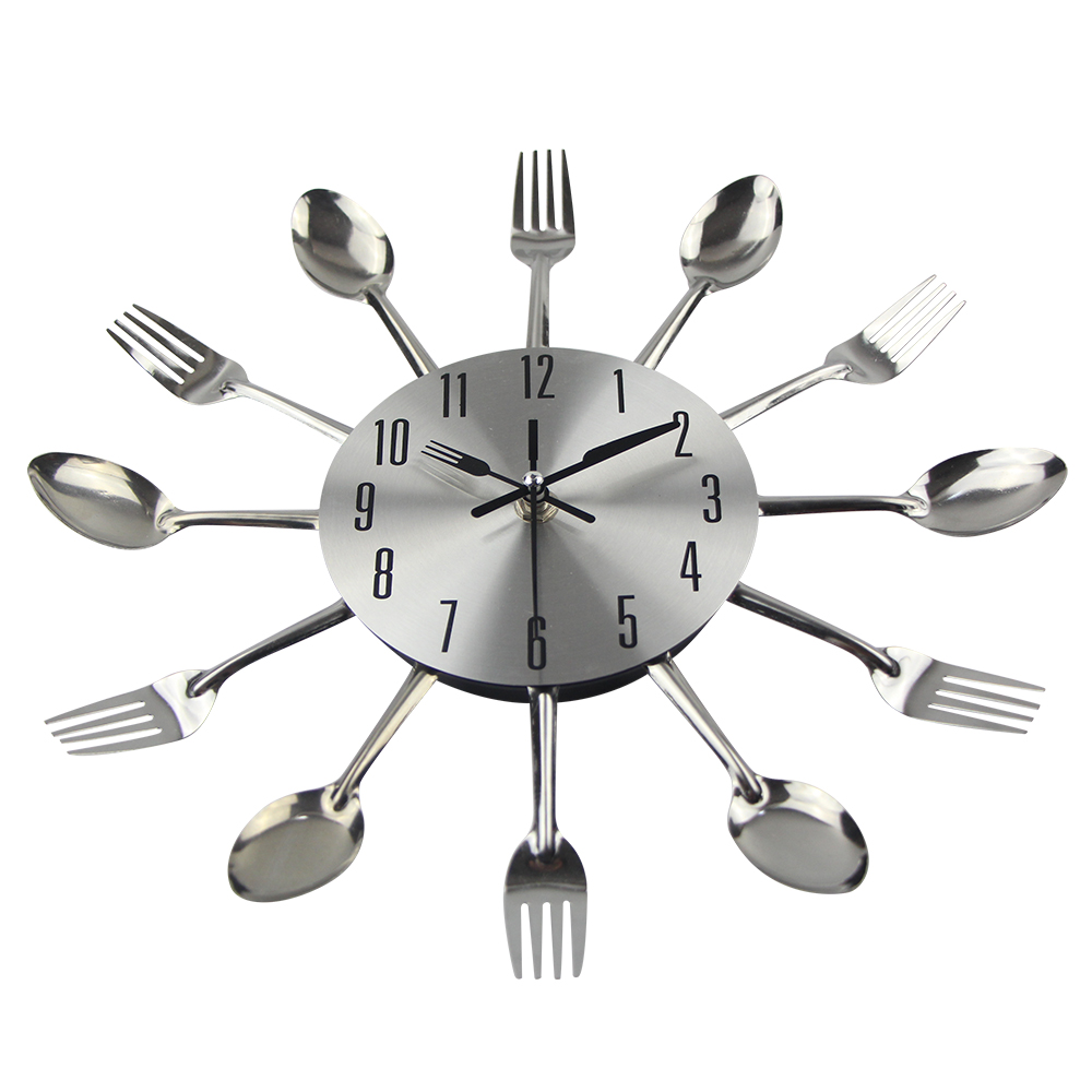 New Modern Kitchen Wall Clock Sliver Cutlery Clocks Spoon Fork ...