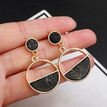 Новые модные серьги-гвоздики с черно-белым камнем, геометрические серьги, Круглый треугольный дизайн, панк украшения для ушей, серьги