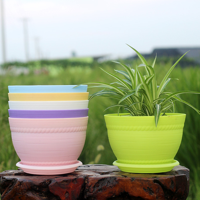 Round Plastic Flower Pots With Saucer Colorful White Clay Garden Pots Small  Large