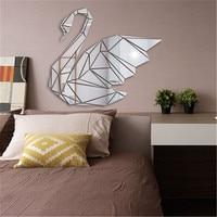 Pegatinas de espejo de cisne geométrico 3D acrílico para pared, calcomanías de arte para dormitorio de niños, decoración del hogar, adhesivo decorativo de espejo