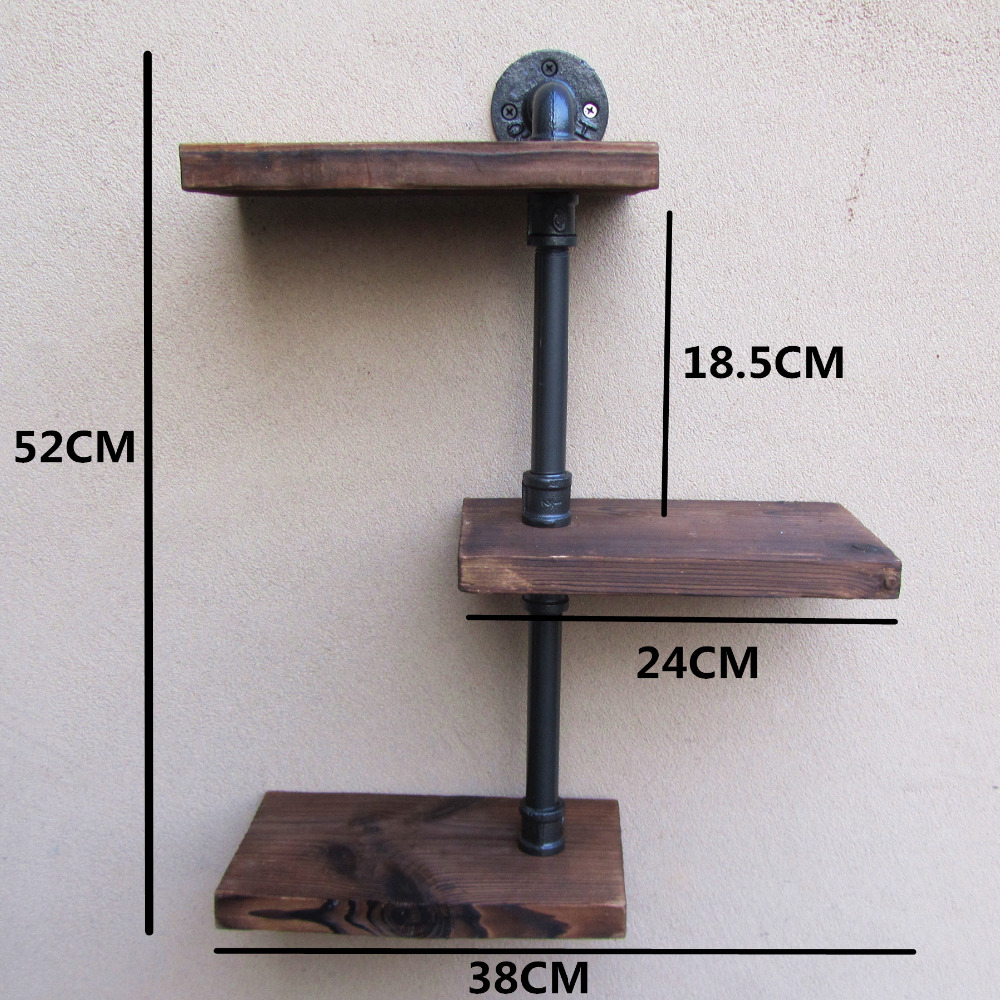 Excellent Industrial Rustic Urban Iron Pipe Wall Shelf 3 Tiers Wooden Board  NI17