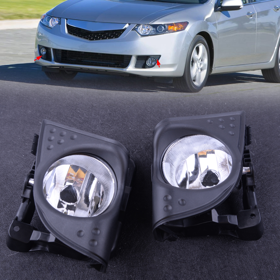 DWCX 1 Pair Car Left Right Front Fog Driving Light Lamp Cover Trim Frame 33900TL0A01 33950TL0A01 Fit for Acura TSX 2009 2010