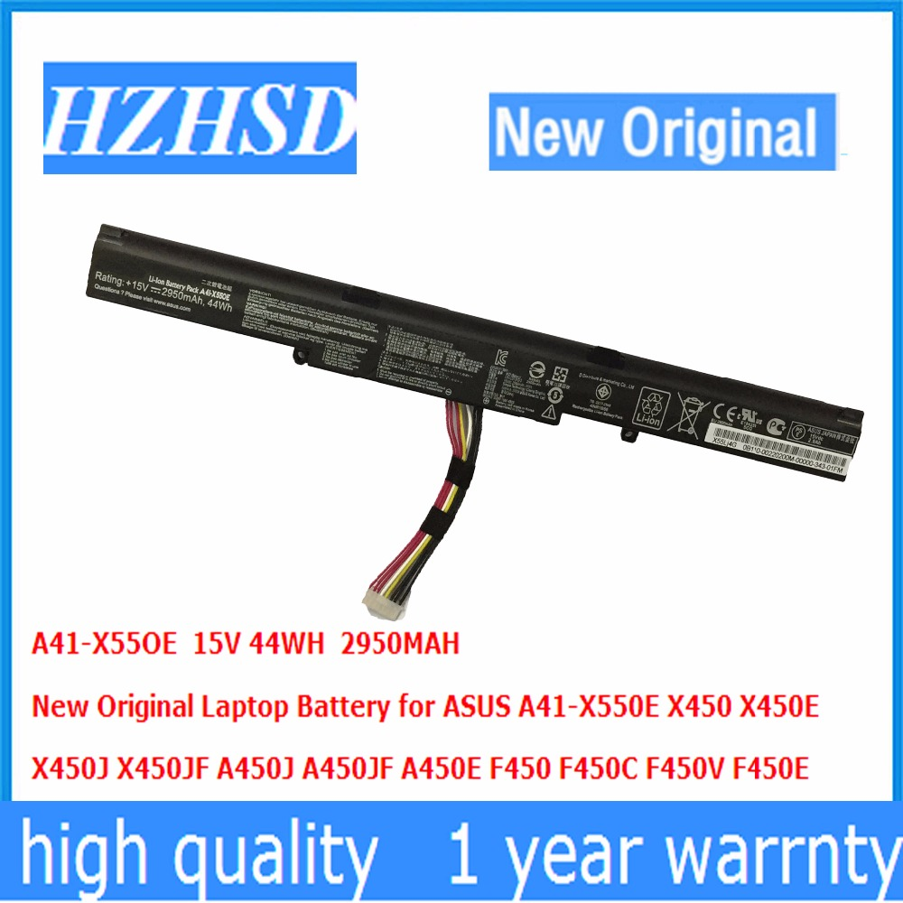15V 44WH 2950MAH New Original A41-X550E Laptop Battery for ASUS X450 X450E  X450J X450JF A450J A450JF A450E F450 F450C F450V 15V 44WH 2950MAH New Original A41-X550E Laptop Battery for ASUS X450 X450E  X450J X450JF A450J A450JF A450E F450 F450C F450V