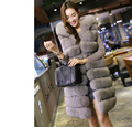 Europe and the United States Large fur long hood thick vest vest imitation fox fur water mink coat