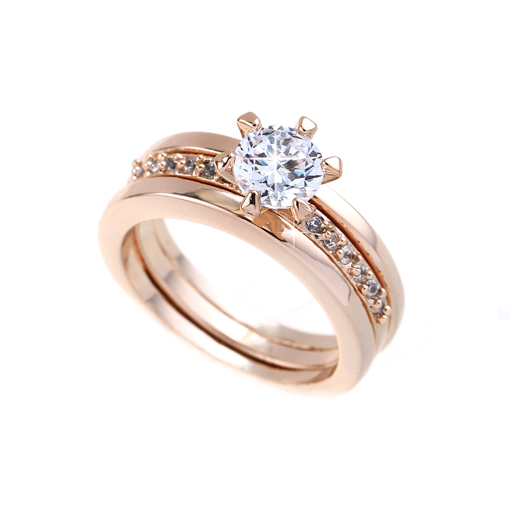 New 2016 Brazil Separable Artificial Rhinestone Engagement Ring Gold Pave Crystal Brilliant Cubic Zirconia Wedding Ring jewelry