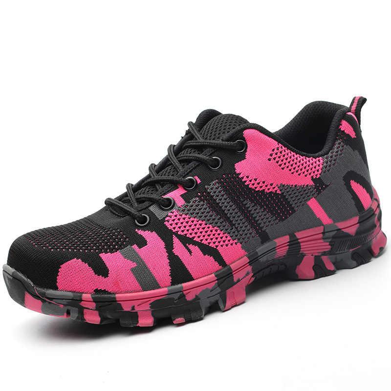 เหล็กสีชมพู Toe ความปลอดภัยรองเท้าทำงานรองเท้าผ้าใบ Breathable Anti-Smashing Anti-piercing อุตสาหกรรมรองเท้าผู้หญิง