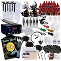 Complete Tattoo Machine Kit - 2pc Rotary Tattoo Machine & 3pcs Dual Coil Tattoo Gun Set 40 bottle black Ink set