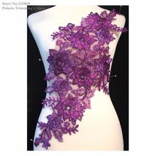Newest Purple Flower Embroidery Lace Appliques Collars Neckline Dancing Dress Costume DECOR Garment Clothing Accessories PBNC86J(China)