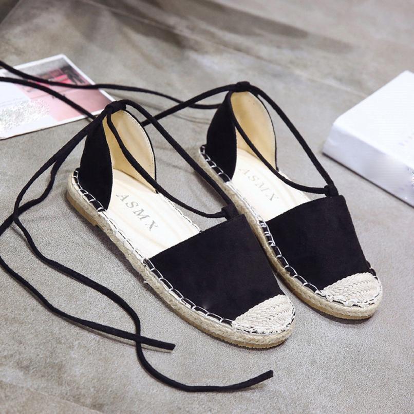 Chaussures Zapatillas Mode Femmes Concis Fond Pêcheur Lacent De kaki Paille Été Tissé Mujer Noir Fille Plat ON08ynwvm