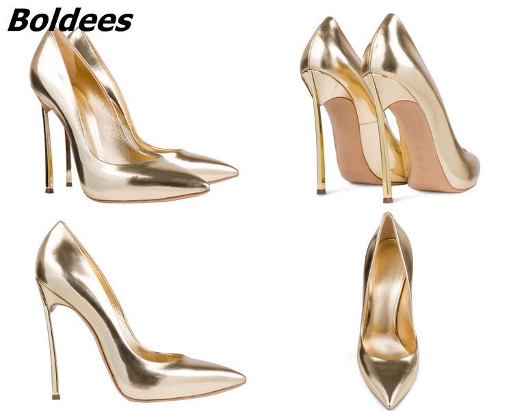 Boldees Sexy Women Stilettos Pointed Toe Shoes Fancy Metal Thin Heel Work Pumps Girls Slip on High Heels Nightclub Dress Shoes woman rose red suede high heels sexy pumps gold side metal thin heel wedding dress shoes pointed toe slip on female shoes