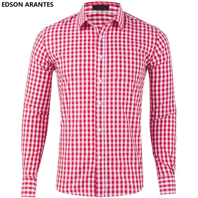 33ae3c6f764f EDSON ARANTES New Checkered Shirt Men Dress Shirts 100%cotton Men s Slim Fit  Plaid Shirt Male Long Sleeve Office Gingham Shirt