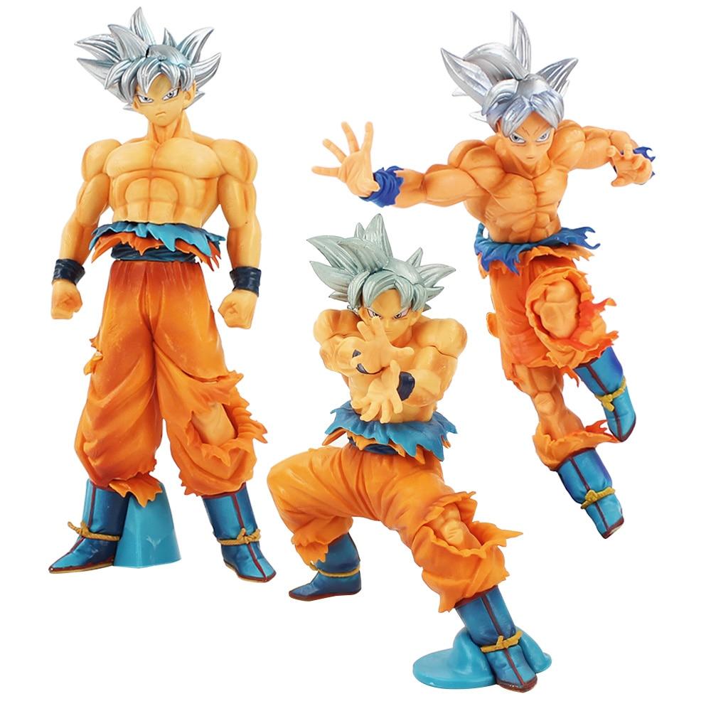 Dragon Ball Super Saiyan Warriors Son Goku Figure Toy Ultra Instinct Gokou Silver Hair Scultures Big BWFC Model Dolls