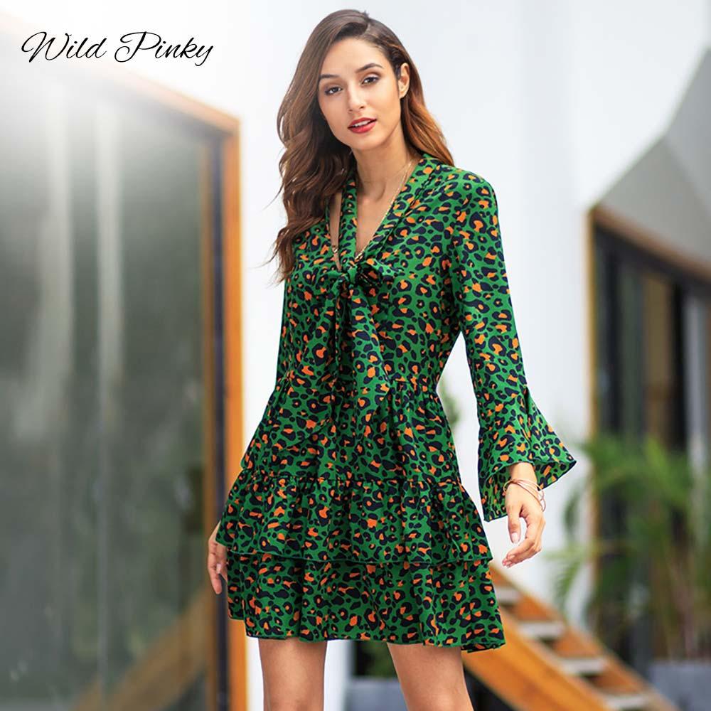WildPinky 2019 Spring Summer Office Ladies Ruffles Leopard Print A Line Dress Women V Neck Bow Long Sleeve Short Dress Vestidos in Dresses from Women 39 s Clothing