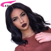 KRN 150 Density Short Glueless 360 Lace Frontal Wig 8 16 Inch Wavy Remy Hair Pre Plucked Brazilian Human Hair Wigs Healthy End