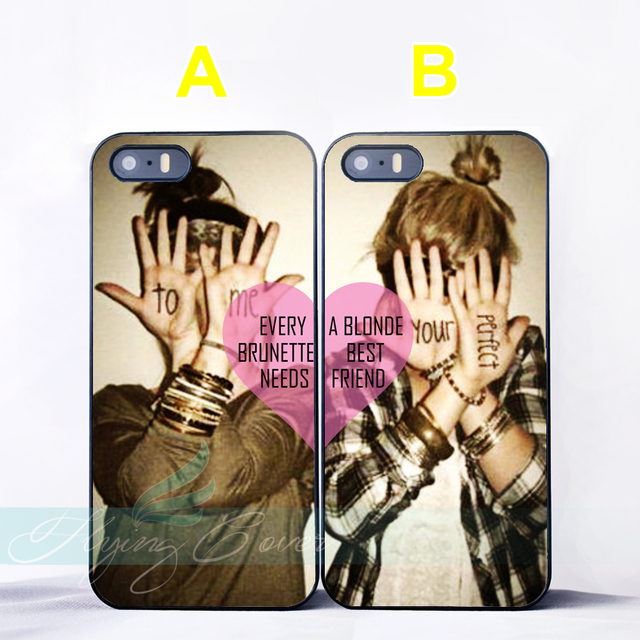 separation shoes df5e2 69ad1 US $6.95 |Capa Brunette Blonde Best Friend BFF Couple Cases for iPhone X 8  8Plus 7 6 6S Plus SE 5S 5C 5 4S 4 Case for iPod Touch 6 5 Cover-in ...