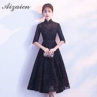 2018 Summer Sexy Lace Cheongsam Women Short Sleeves Qipao Modern Black Chinese Traditional Wedding Dress Retro Dressing Gown