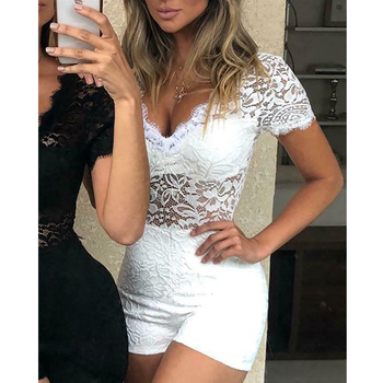Sexy Women Floral Lace Playsuit Jumpsuit Summer Sexy V Neck Short Sleeve Slim Playsuits Rompers Lady Chic Party Bodycon Leotard 3