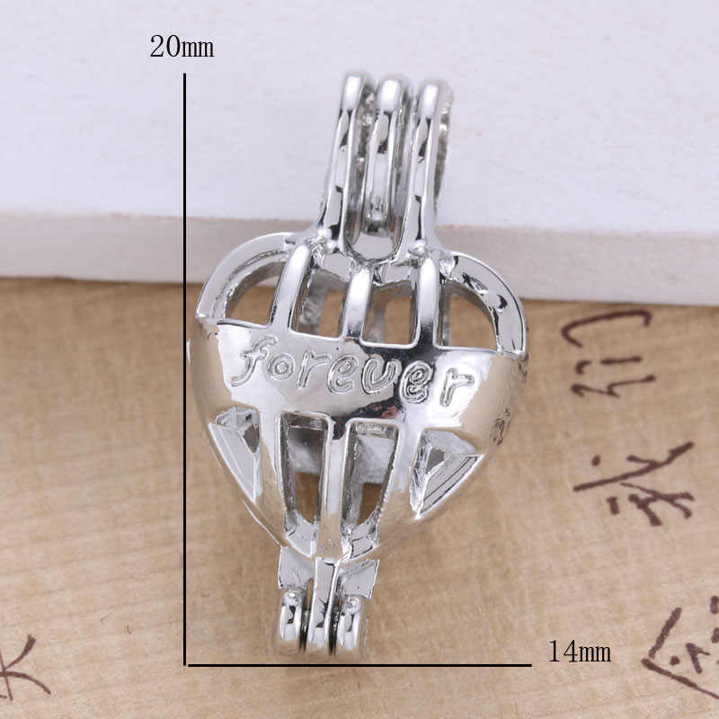 6pcs Bright Silver Forever love เครื่องประดับทำเครื่องประดับลูกปัดมุกจี้น้ำมันหอมระเหย Diffuser อินเทรนด์ Locket