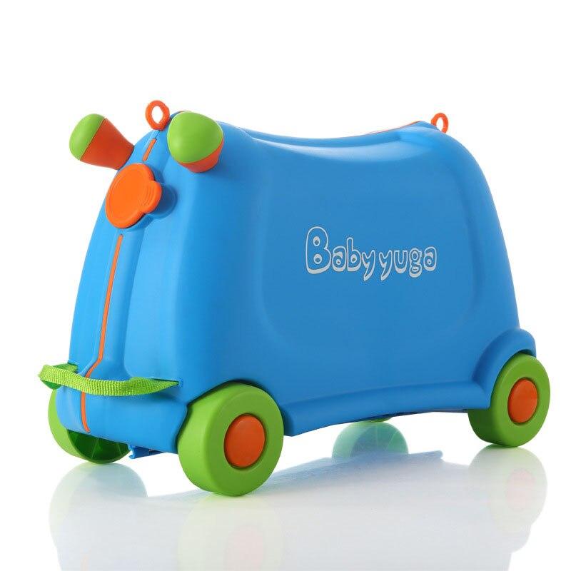 Enfants s'asseoir et se débarrasser jouet garçon fille bébé voitures boîte bagages enfants creative valise voyage tirer tige boîte belle boîte à cocher ours 50 KG