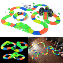 Inflatable Miraculous 176/220PCS Glowing Racing Track Set 1 Led Light Truck Car Flexible Changeable Road Tracks Toys DIY Toys(China)
