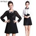 Rytislo primavera mulheres chiffon dress turn-down collar ruffles beading dress big size 5 xl roupas femininas