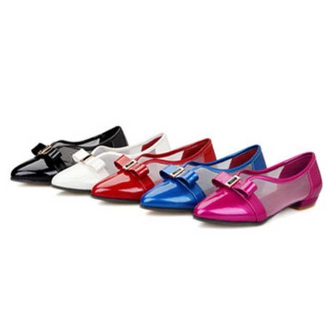 Women's Cute Bow Flattie Single Shoes 2017 New Brand Narrow Mouth Pointy Toe Plus size 34-48 Slip-On Driving Shopping Soft Shoes