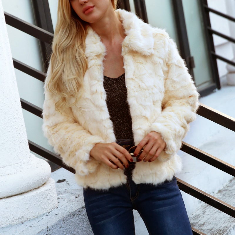 Coat Winter Streetwear 3xl A Warm 2018 Plus Fur Autumn Faux Jackets Thick Sleeve Lapel Women Size Coats Long Soft 5PTzxq1Tw