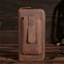 Crazy horse leather long mens wallet vintage first layer mobile phone bag holding a x 2079