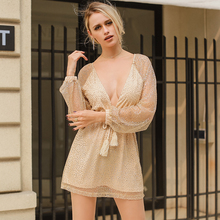 Lily Rosie Girl Sexy Deep V Sequin Mini font b Dress b font Long Sleeve Lace