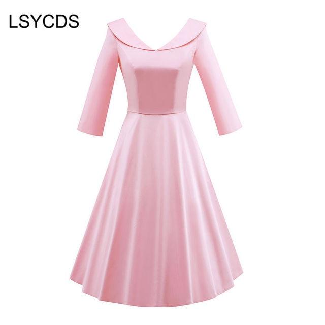 Winter Herbst Kleid Retro Rosa Rot Schwarz Blau Vintage Kleid Plus ...