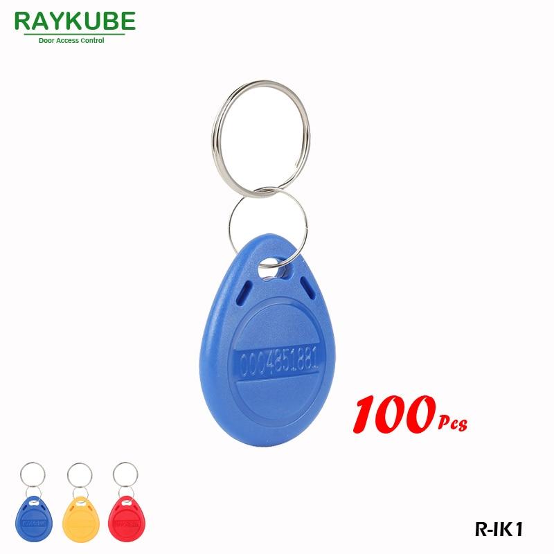 RAYKUBE R-IK1 100Pcs/Lot 125Khz RFID Proximity Keyfobs For Door Access Keypad Reader Bule Keyfobs raykube 125khz rfid proximity keyfobs 10pcs lot tk4100 em keytags rfid for access control keyfobs r ik1