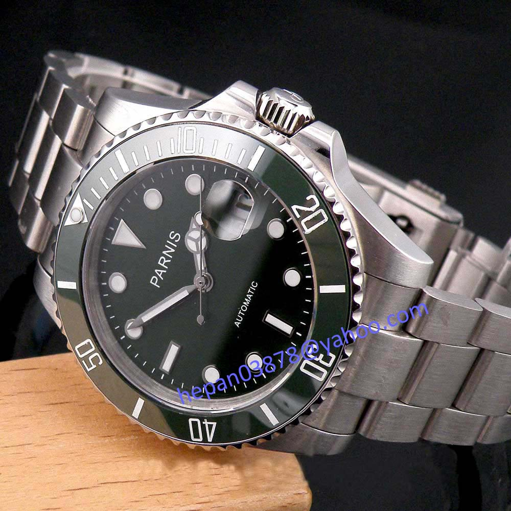 Parnis watch 40mm green dial luminous hands sapphire glass stainless steel case MIYOTA Automatic movement Mens watch 121Parnis watch 40mm green dial luminous hands sapphire glass stainless steel case MIYOTA Automatic movement Mens watch 121