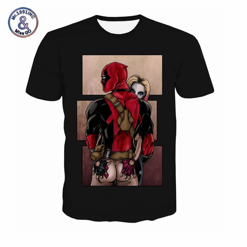 2017 american comic marvel t shirt men women deadpool suicide squad t shirt characters 3d funny. Black Bedroom Furniture Sets. Home Design Ideas