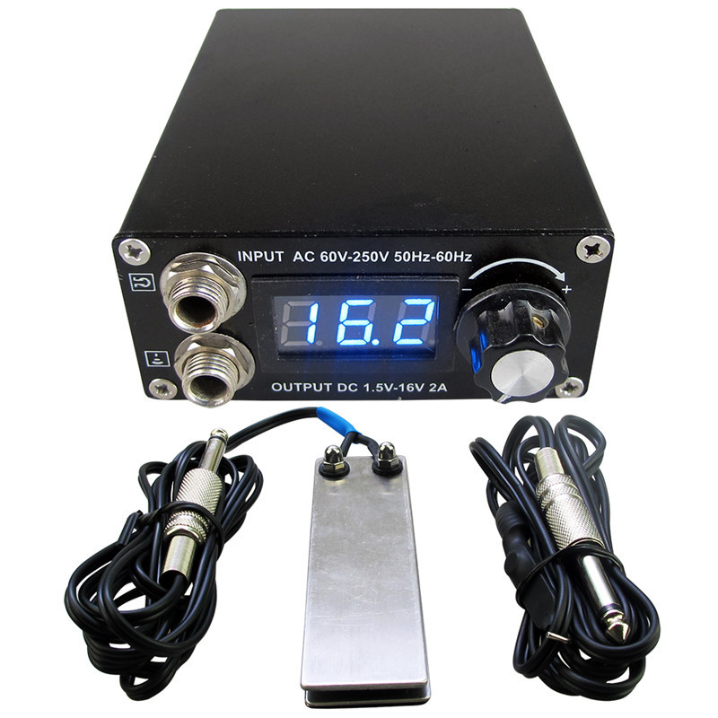 Professional Digital Dual Black Tattoo Power Supply Kit With 1pcs Foot Pedal Switch & 1pcs Clip Cord Free Shipping