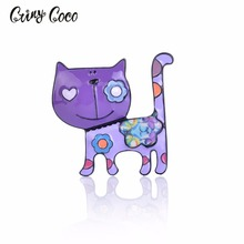Cring CoCo Cat Brooches for Women Enamel Stainless Steel Alloy Pins Girls Scarf Sweater Clips Badges Jewelry Pin