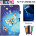 Для Samsung Galaxy Tab A 10.1 2016 T585 SM-T580 T580N бабочка Череп Цветочным Узором PU Кожаный Tablet Чехол с Карты держатель
