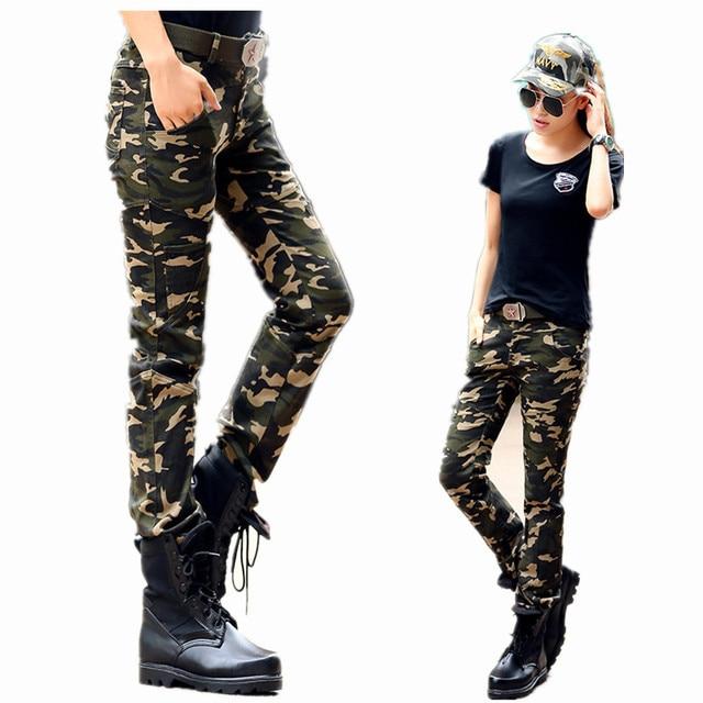 307365125e4f3 Femmes Camouflage Pantalon taille haute Stretch Pantalon Slim dames  vêtements de sport décontractés Slim armée Cargo