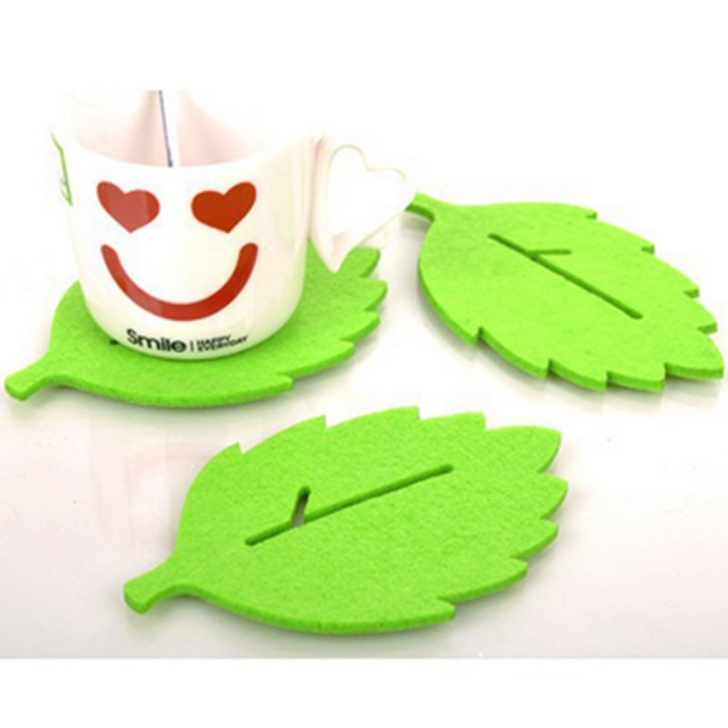 3PCS Fashion leaf-shaped Tea Cup Coaster Heat Insulation Felt Mat Table Decor