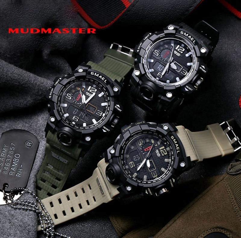 SMAEL 2019 Men's Sport Wrist Watch Military Waterproof Man Dual Display Analog Digital Watch electronic Clock erkek kol saati (7)