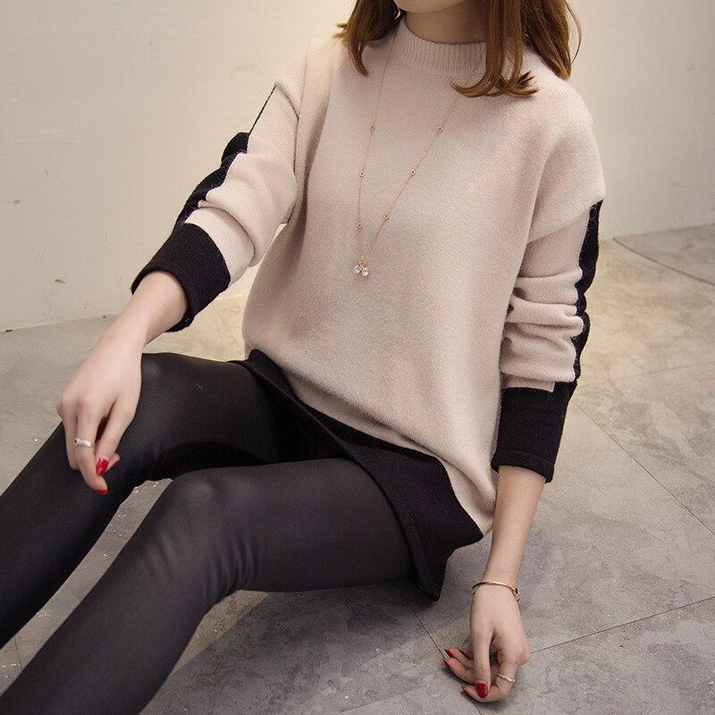Camisa de manga larga femenina corto suéter suéteres suéter de punto flojo de la