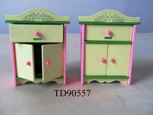 W008 New children gift kids wooden toy Furniture doll house furniture DIYEducational Toys living room furniture cabinet 2pcs/set