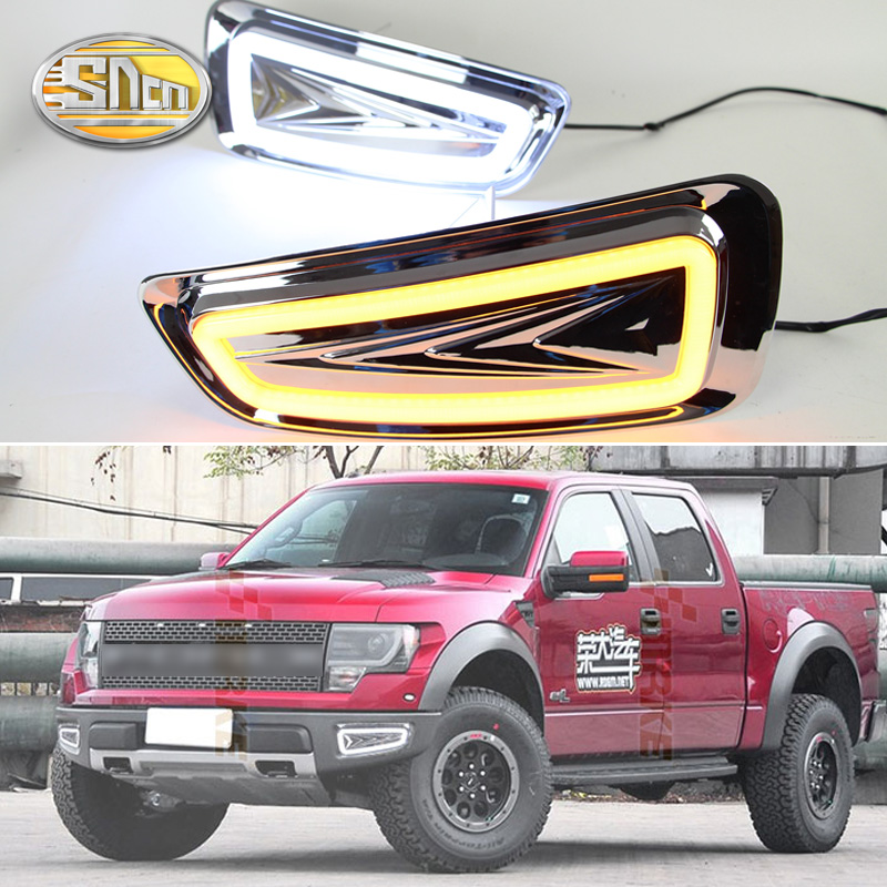 For Ford F-150 2010 2011 2012 - 2014,With Turning Yellow Signal Relay Waterproof Car DRL LED Daytime Running Light Daylight SNCN sncn with yellow turning signal relay waterproof 12v car drl led daytime running light fog light for skoda rapid 2013 2014 2015