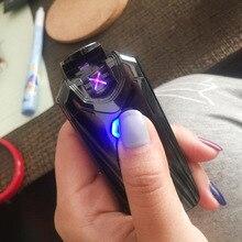 Nieuwe Usb Thunder Aansteker Oplaadbare Elektronische Aansteker Sigaret Plasma Double Arc Palse Pulse Winddicht Gadgets Voor Mannen Gift