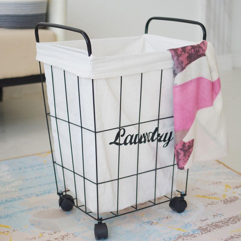 New Iron Dirty Clothes Basket Metal Storage Belt Wheel Bathroom Barrel Industrial Eco friendly Clothing Laundry Basket