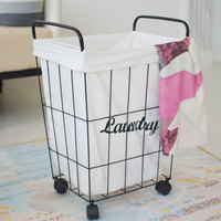 New Iron Dirty Clothes Basket Metal Storage Belt Wheel Bathroom Barrel Industrial Eco friendly Clothing Laundry Basket