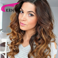 KRN 150 Density Brazilian Lace Front Wigs 10 24 Inch Ombre Color Remy Hair Curly Pre Plucked Human Hair Wigs Full End